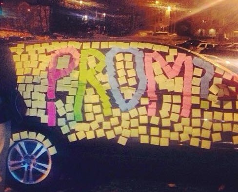 One of the 15 ways to ask a girl to prom using sticky notes