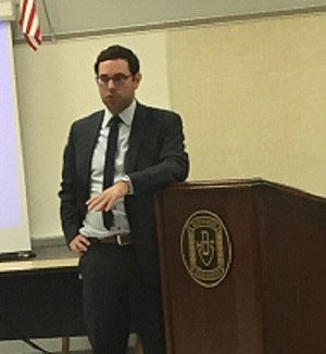 Guest speaker Joe Deaux addresses the crowd at Distinguished Speaker Night.