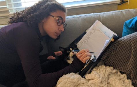 Sierra Emery '21 completes math homework with the help from her pet cat.